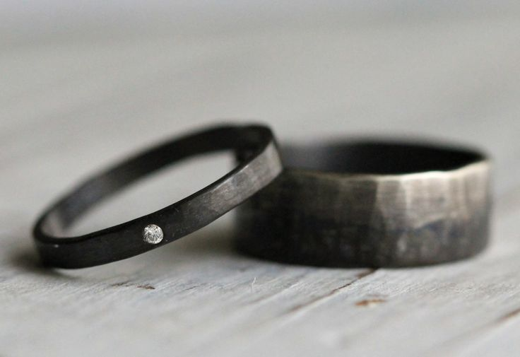 His & Hers Promise Rings Couple Ring Set Personalized Silver Ring Set. White Diamond Modern Engagement Ring, Silver Wedding Band by PaleFish