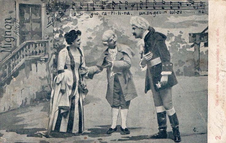 Cartolina illustratoria artisti musicali, viaggiata Opera MIGNON Atto I- fine 800/primi 900. Collezione d'epoca. Opera musicale. Vintage di LaCasadiAnto su Etsy