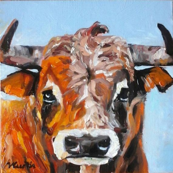 Bull original oil painting by Vicky Curtin by MyCoveArt on Etsy