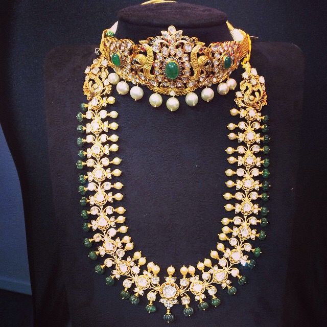 #choker#ranihaar Uncut diamonds ,pearls and other stones