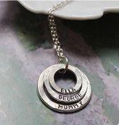 Sterling Silber gravierte Ringe Halskette mit 3 Ringe engravable