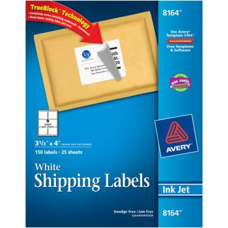 """Avery White Shipping Labels with TrueBlock Technology for Inkjet Printers, 3-1/3"""" x 4"""", Pack of 150"""