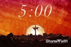Let your church know that your Easter Sunday service is about to start with this five minute resurrection countdown timer, featuring a cross with drape. #Sharefaith #Easter #Countdown #EasterMedia #ChurchMedia