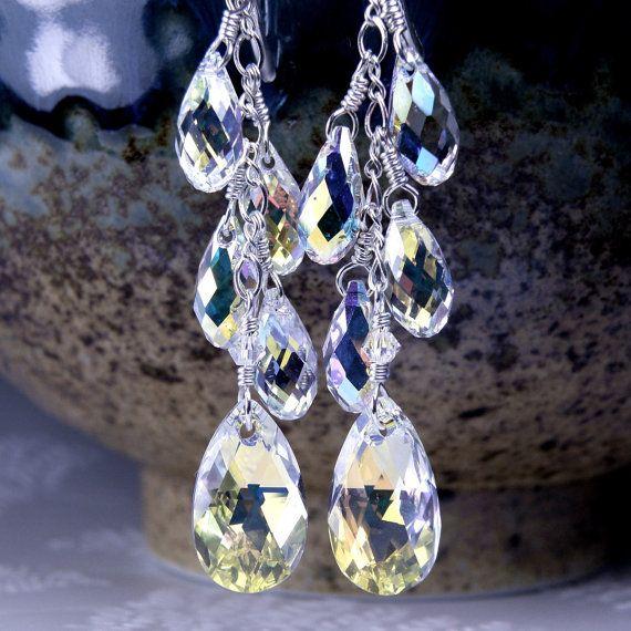Long Chandelier Swarovski Crystal Earrings Sterling Silver Teardrop Wedding Statement Bridal Jewelry Handmade