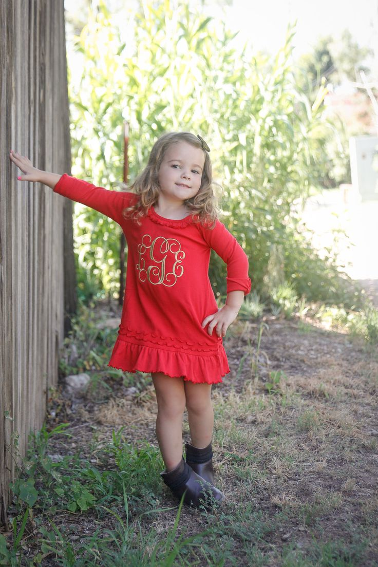 Monogrammed Red and Gold Ruffle Dress | Gentry's Closet | $26 | Click link to shop: http://gentryscloset.com/collections/thanksgiving/products/monogrammed-thanksgiving-christmas-dress-for-baby-toddler-little-girl-fall-red-and-gold-girls-ruffle-dress-with-embroidered-monogram