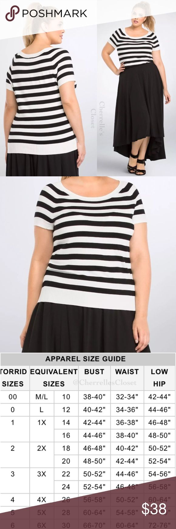 Torrid Striped Pullover Top Plus Size NWT Brand New With Tags Plus Size 5 28 5X  A Parisian-inspired pullover top that's sure to charm, this short sleeved black and white striped knit style is très chic. A form fit with ribbed trim, a stretchy ribbed collar creates  a deeper scoop neckline.  Rayon/nylon torrid Tops