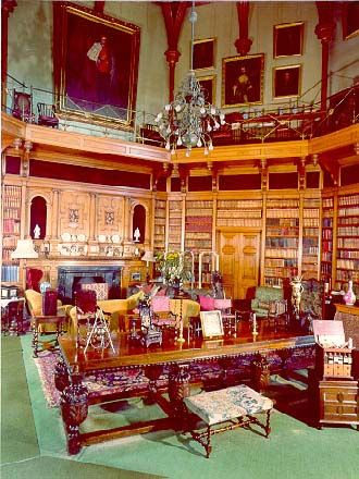 The library at Muncaster Castle in Cumbria, England. The castle was first built in the 13th century and has been enlarged and remodeled over time, including by Anthony Salvin in the 19th century, who completed the library in 1862. It contains about 6,000 books.