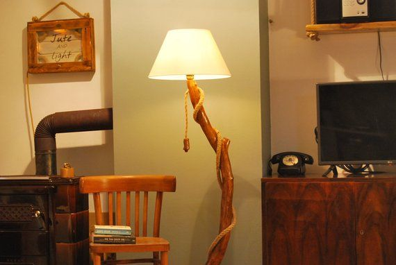 Floor Lamp With Bent Branches Large Wooden Floor Lamp Old Wood Lamp Jute Rope Lamp Houten Lamp Vloerlamp Touw Lamp
