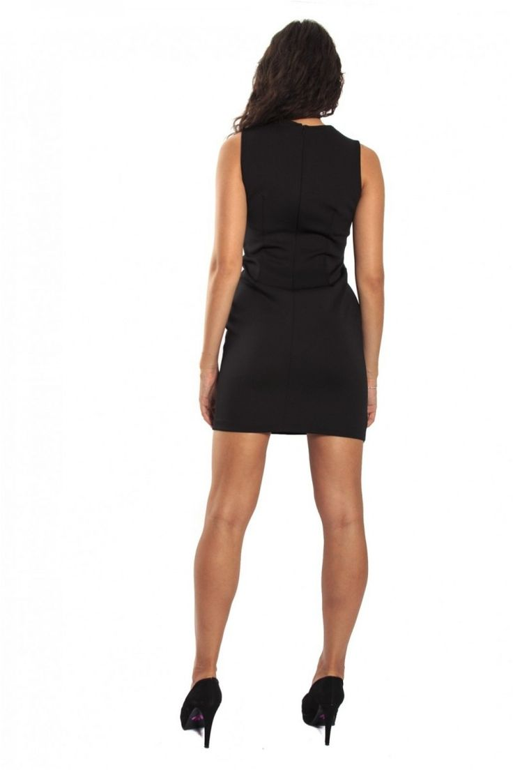 Rinascimento Black Dress With Leather Details Art CFC0069666003