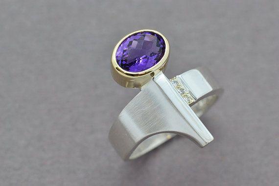 Amethyst & Diamond Ring Diamond Ring Sterling by SuttonSmithworks