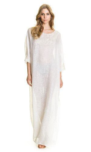 Robe longue en lin  blanc