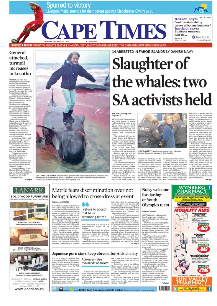 News making headlines: Slaughter of whales: Two activists held