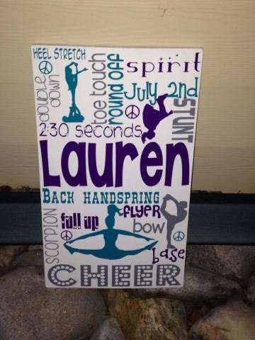 Competition Cheer Personalized Wooden Sign Cheer All star Elite by swirlytwirlydesigns for $55.00