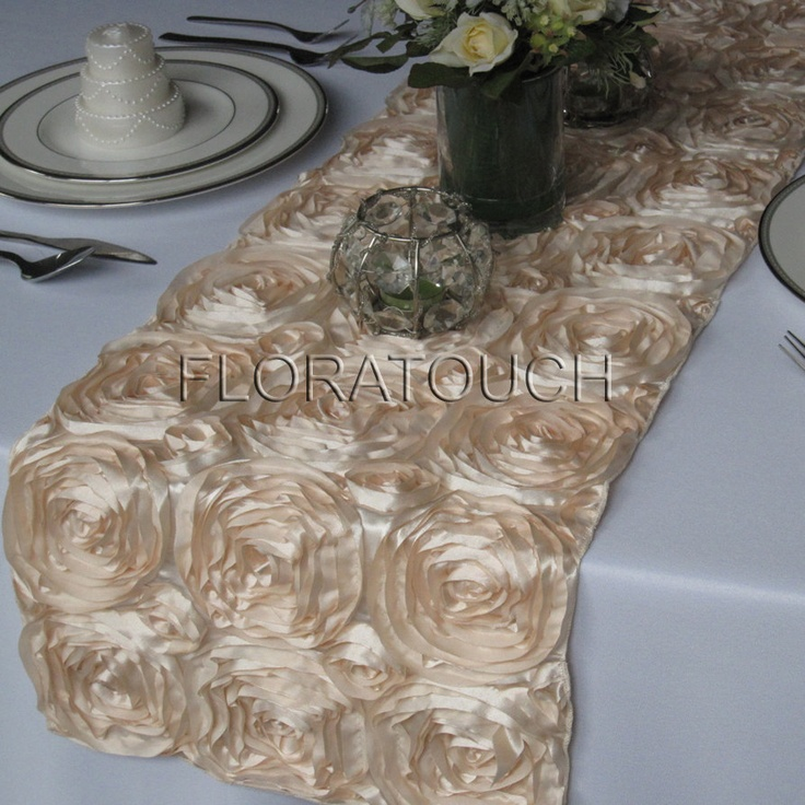 Exceptional Satin Ribbon Rosette Table Runner Champagne By Floratouch On Etsy