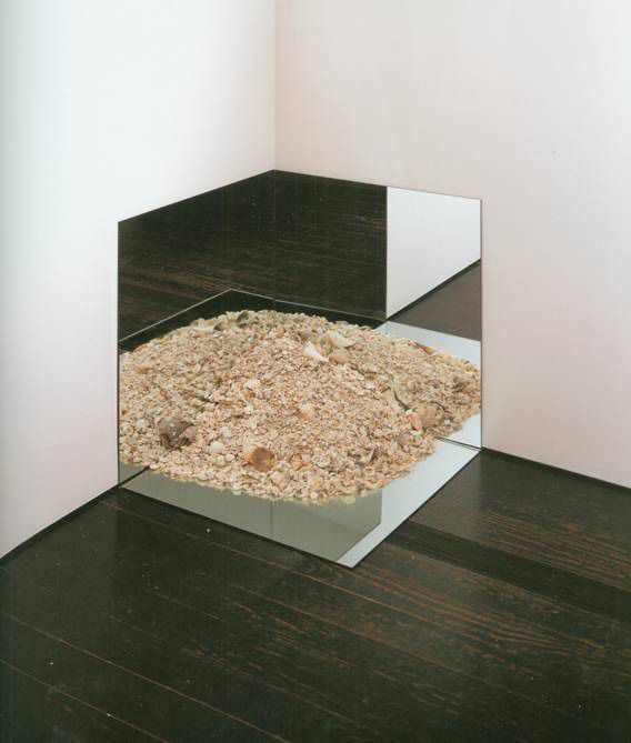 "On July 9, 1969 Robert Smithson wrote the following: ""This is to certify that the Mirror with Crushed Shells (Sanibel Island) is an original work of art. It consists of three mirrors which may be restored if broken, & one burlap bag of crushed shells collected by the artist at Sanibel Island, April, 1969. If any shells are ever lost, the owner has the right to restore the work by collecting more shells from Sanibel Island.... The work is owned by Andy Warhol, and can not be duplicated."""