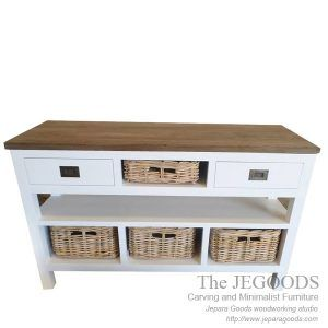 Buffet Wild White is a stunning buffet with 4 rattan baskets as storages. Buy buffet white painted rustic furniture Jepara at wholesale factory price.