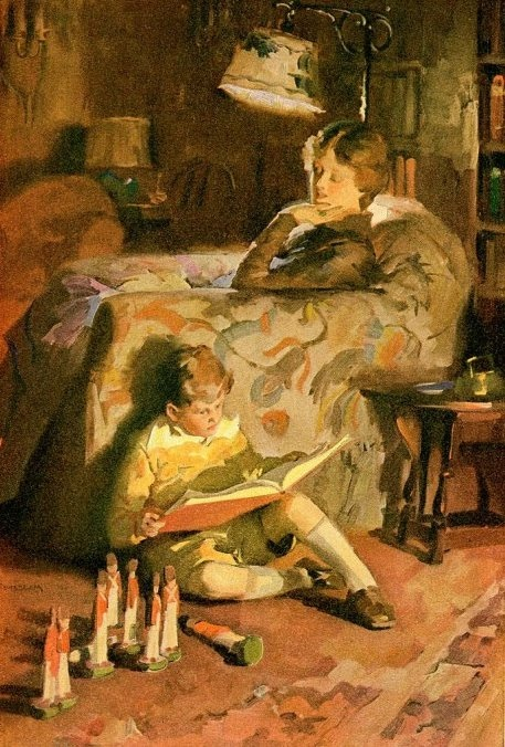 Many boys on Barrayar grew up being army-mad. Here, little Ivan shares a story with Cordelia while waiting for Miles to come play. This generation of children was the product of a war-weary world and soldiering had been the main occupation of many men in the previous generations. The children were reared on stories of soldierly heroism and battle-field strategy, much to their mothers' dismay.