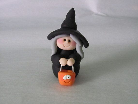 Polymer Clay Halloween Witch by ClayPeeps on Etsy
