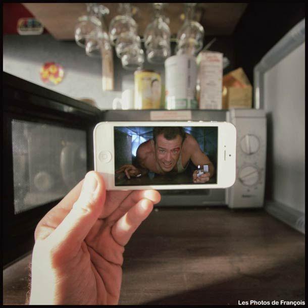 """série """"Réalité revisitée"""" du photographe François Dourlen avec """"Donner vie aux films cultes avec un iPhone"""". Voici aujourd'hui une nouvelle sélection de photographies issues de la même série, mettant en scène les personnages des films et de séries comme Le Roi Lion, The Big Lebowski ou encore Die Hard, Pulp Fiction et Breaking Bad, incrustés dans la réalité avec un simple iPhone !"""