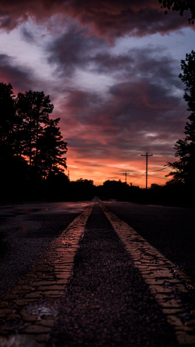 Road Sunset Marking Trees Wallpaper Background Iphone Iphonexswallpaper Nature Backgrounds Iphone Tree Wallpaper Backgrounds Dark Background Wallpaper