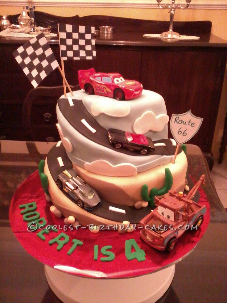 Coolest Cars Spiral Birthday Cake Coolest Birthday Cakes