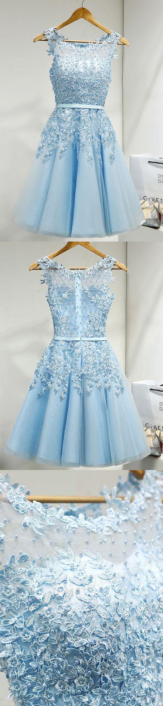 Outlet Distinct Short Light Blue Prom Homecoming Dresses With Mini Zipper Beaded/Beading Dresses
