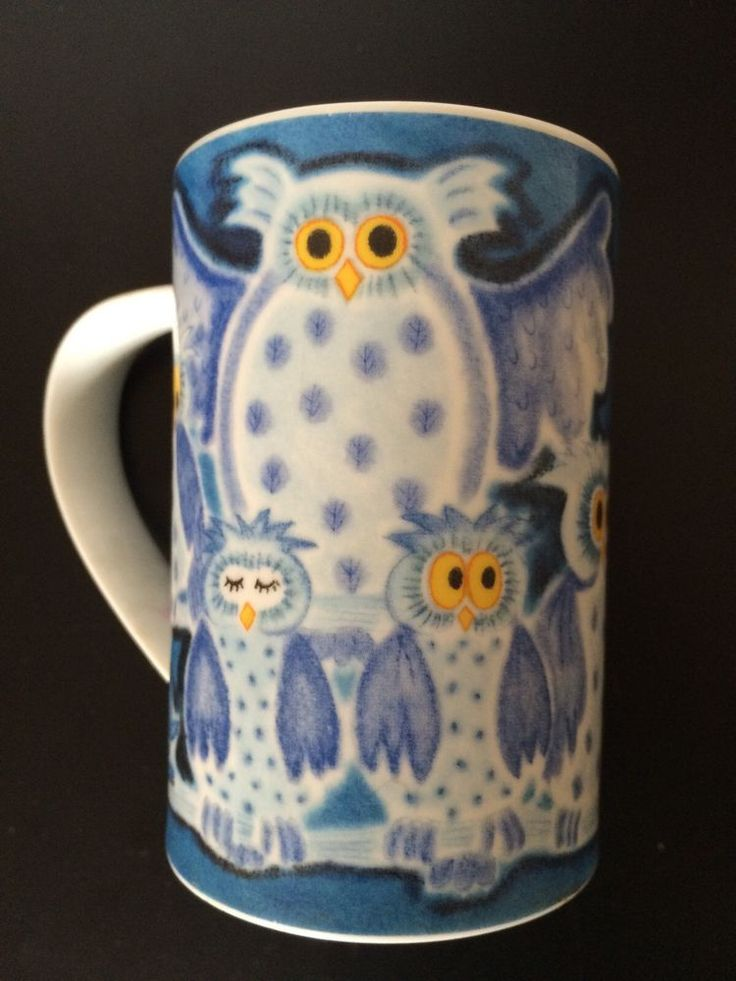 Dunoon Scotland Jane Brookshaw OWLS Stoneware Mug Coffee Cup ~Chilled Out 24.99
