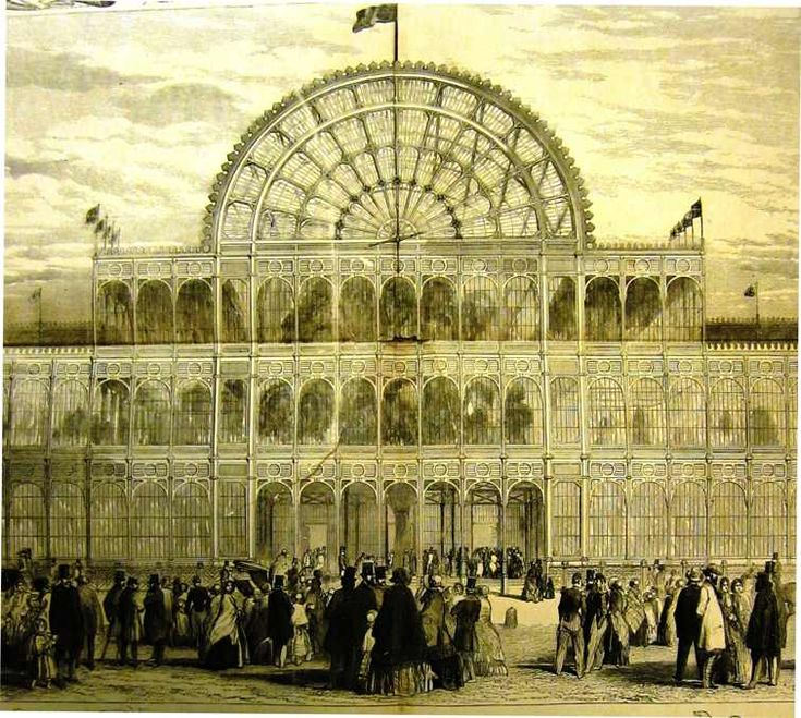 The Crystal Palace, south side. Great Exhibition of 1851, Illustrated London News
