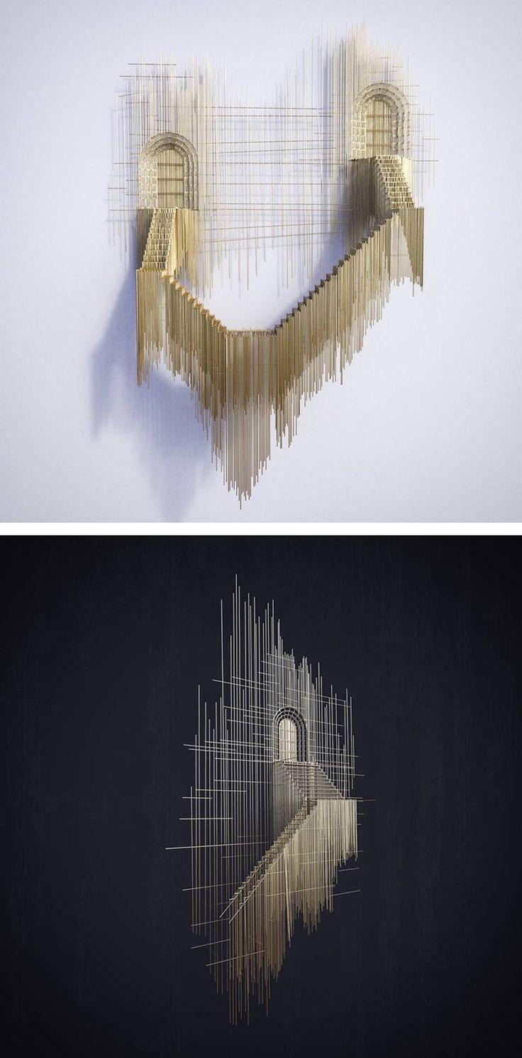 Artist David Moreno turns architectural pencil sketches into 3D wire sculptures.