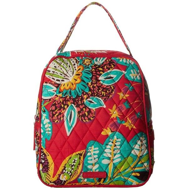 Vera Bradley Lunch Bunch (Rumba) Bags ($34) ❤ liked on Polyvore featuring bags, handbags, strap purse, red quilted handbag, vera bradley handbags, red handbags and handle bag