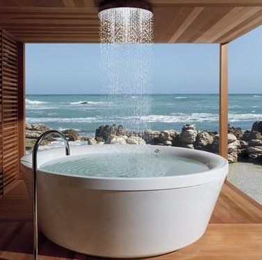 Geo 180 Round Bath With Rain Shower! Awesome ♥ Modern Tub By Kos Of Italy  Combines A Whirlpool Option With A Cascading ...