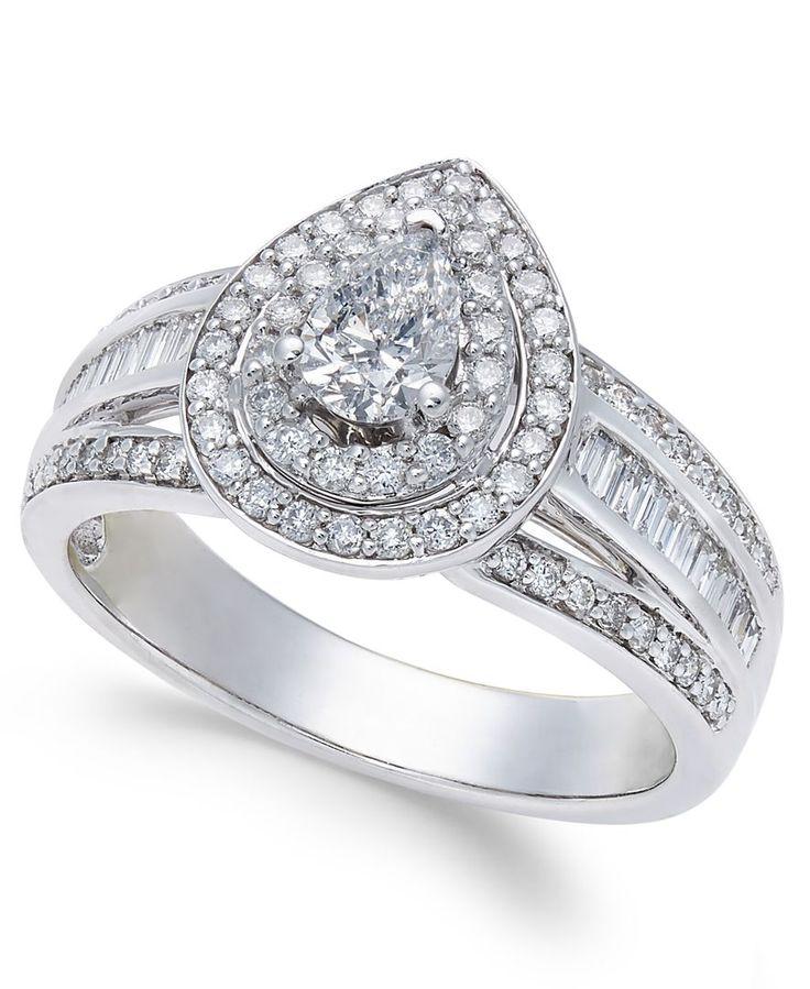 Diamond Teardrop Engagement Ring (1 ct. t.w.) in 14k White Gold
