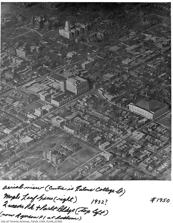 College St and Yonge St, Toronto, 1932. Seen is College Park, an Art Deco landmark. The building was built between 1928 and 1930 by the Eaton's department store, and was designed by Ross and Macdonald (in association with Henry Sproatt), the Montreal architectural firm that also designed the Royal York Hotel and Maple Leaf Gardens in Toronto, the Château Laurier Hotel in Ottawa, and the Montreal Eaton's store.