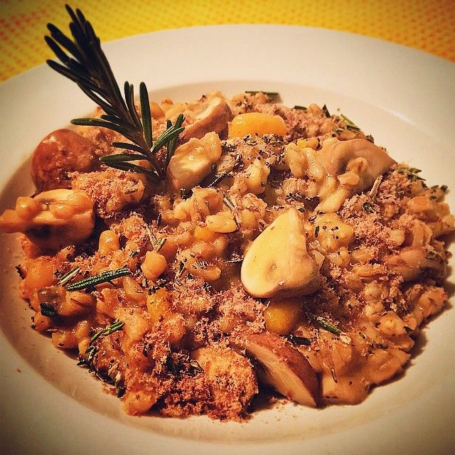Italo-SouthAfrican food: Barley risotto with butternut, mushrooms and springbok biltong sprinkle. Eating clean and broke as a joke!