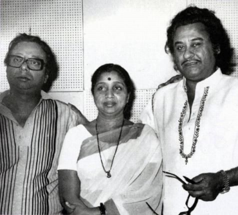 R. D. Burman with his favourite singers Asha Bhosle and Kishore Kumar.