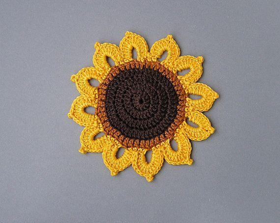 4 häkeln Untersetzer Sonnenblume von HappyGarlik auf Etsy