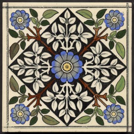 Gothic blue flower print. c1885. 85GBP