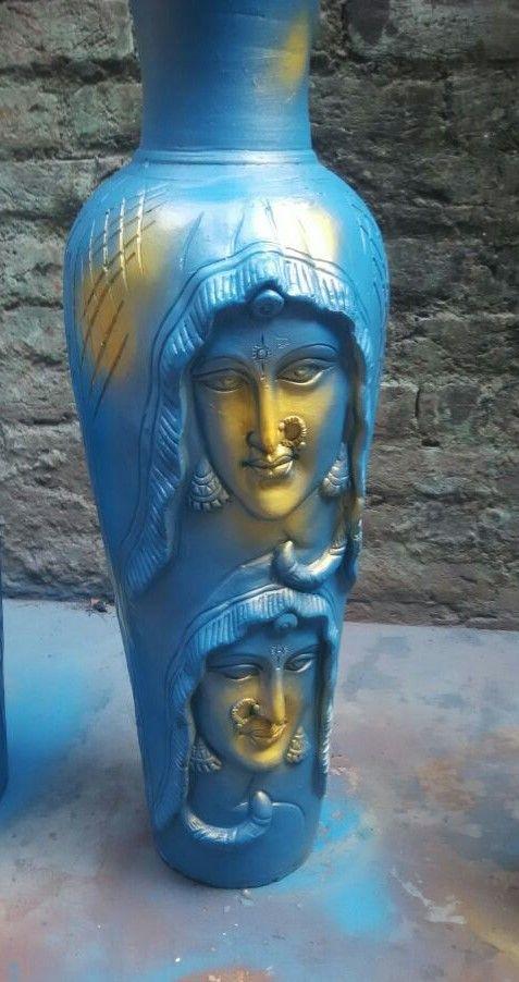 Terracotta Blue Sheila Vase - KABCHI'S HOMEWARES
