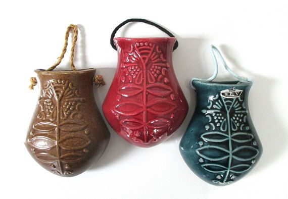 vintage hanging wall planters set -  three Bay Keramik wall vases in : regal red, sweet mocha brown, and show stopping blue. Form 336.