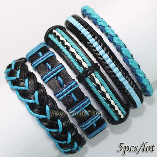 FL36-free shipping (5pcs/lot) handmade blue&black wristband genuine ethnic braid hemp rope leather bracelet for gift