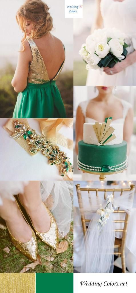 #SicEm #Baylor brides! // Emerald and gold | 3 Green Wedding Color Combos for Spring/SummerGold Accent