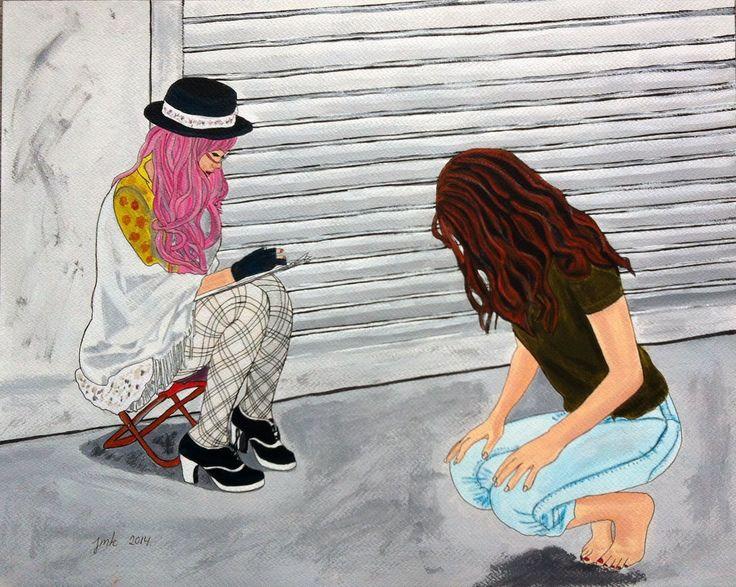 Acrylic and canvas on paper. 40 x 50 cm.  Artist Jeanette Marie Kjeldsen.