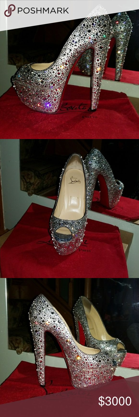 Christian louboutin Altareva 160 swarovski strass Authentic Christian louboutin altareva 160mm swarovski professional strass. Size 38.5 but RUN VERY SMALL fit 7-7.5 best! I'm a 6-6.5 as you can see they almost fit me. These were my sister's who passed away im not sure she ever wore them. There is a red sole protector with nice grip. There's no gaps in crystal or any missing. There's thousands of crystal on these.no trades! Excellent like new condition.sparkle like diamonds!Buy with…