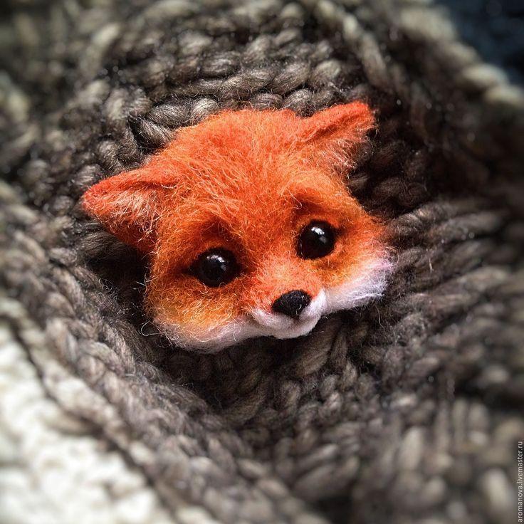 Купить Лисичка-брошь - рыжий, лисенок, лисичка, лиса, брошь ручной работы, брошь лиса