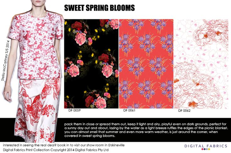 Our fashion prints with some inspiration from the runway #fashion #fabric #print #design #nature #inspiration #colour #spring #floral #flora #pink #pastel #black
