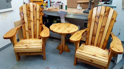 I used your plans to build these chairs for family Members. I designed a different style table.  Do you happen to have any hanging swinging Bench Chair plans ? Thanks  Brian Cumming