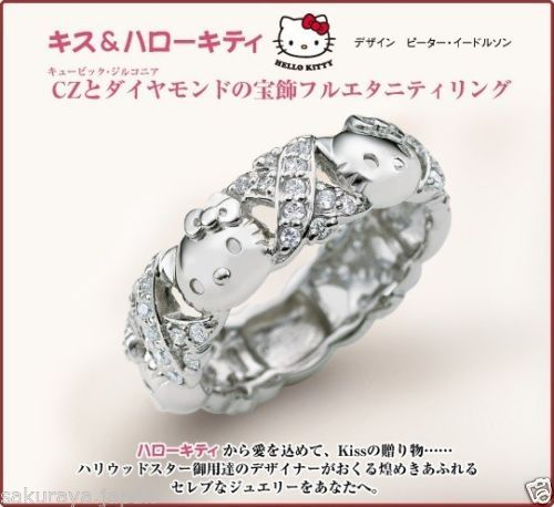 hello kitty cz diamond ring silver 925 wedding engagement sanrio from japan gift