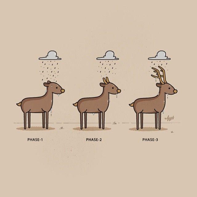 When it rains...dear! #reindeer #rain #pun #visualpun #art #artist #illustration #illustrator #draw #drawing #doodle #animal #cute #fun #humor #design #designer #graphics #graphicdesign #digitalart #vector #tshirt #nabhan #arab #arabartist #gcc #oman #omani