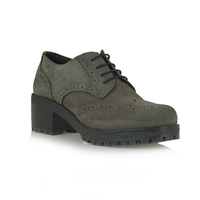 ANNA LOKA γκρί δερμάτινα παπούτσια τύπου oxford | Tsakiris Mallas