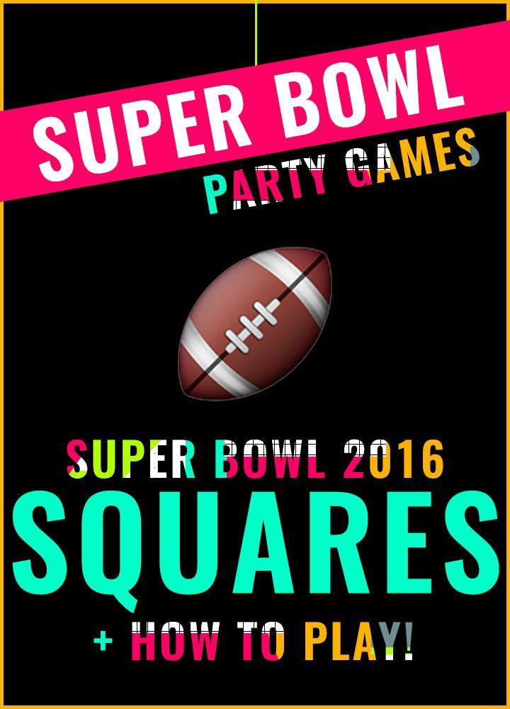 Free Printable Super Bowl Squares 2016 + How To Play! Super Bowl 2016 || Denver Broncos vs Carolina Panthers